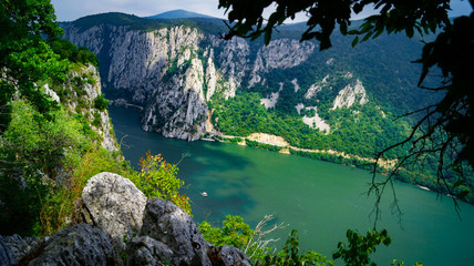 The iron gate of the Donau/danube river forms the natural border between Serbia and Romania. The Serbian side is the Djerdap national park (Djerdapska klisura). This is the smallest point of the river