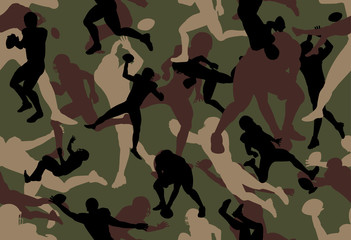 vector background of American Football Players  woodland green camouflage pattern