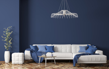 Interior of modern living room with white fabric sofa over blue wall 3d rendering