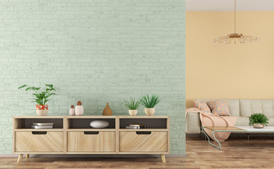 Modern interior of living room with wooden sideboard and sofa 3d rendering