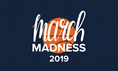 March Madness basketball vector logo and background. US national student basketball tournament. Design with lettering and game ball