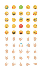 Set of emoticon with hands