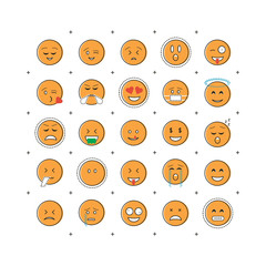 Set of emoticon vector with line