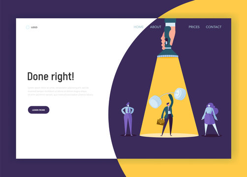 Recruitment Leadership Creative Idea Concept Landing Page. Hand with Flashlight Pointing to Strong Businessman Character. Human Resource Website or Web Page. Flat Cartoon Vector Illustration