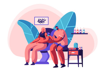 Tattoo Master Make Ink Picture to Woman in Parlor. Professional Tattooist Hold Machine in Hand at Work. Client Sit Chair in Studio. Artist Paint Human Body Heart. Flat Cartoon Vector Illustration