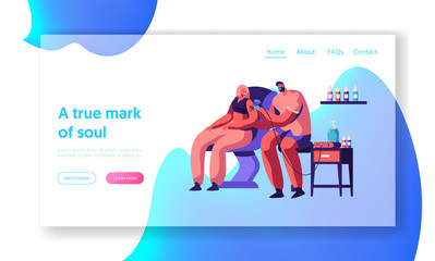 Tattoo Master Make Ink Picture in Parlor Landing Page. Professional Tattooist Hold Machine at Work. Man Artist Paint Woman Client Body Heart Website or Web Page. Flat Cartoon Vector Illustration
