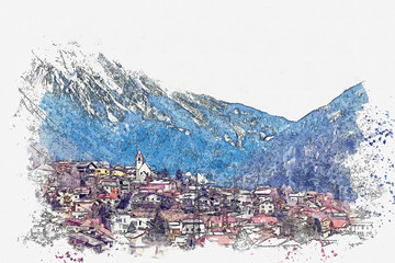 Watercolor sketch or illustration of a beautiful view of the urban architecture in Tyrol in Austria. The city is located near the Alps mountains