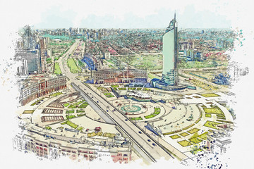 Watercolor sketch or illustration of a beautiful view of the urban architecture in Astana in Kazakhstan. Cityscape or urban skyline