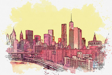 Watercolor sketch or illustration of a beautiful view of the New York City with urban skyscrapers. Cityscape or urban skyline