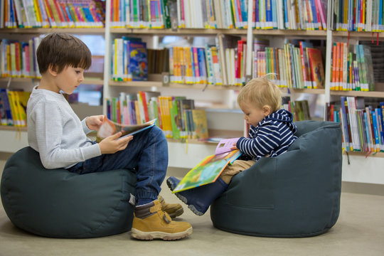 Smart children, boy brothers, educating themselves in a library