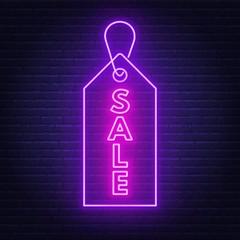 Fototapete - Sale neon sign.Advertising Board on dark background.