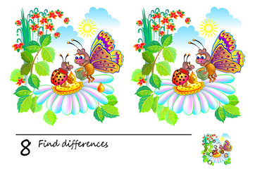 Logic puzzle game for children and adults. Need to find 8 differences. Printable page for baby brainteaser book. Developing skills for counting. Vector cartoon image.