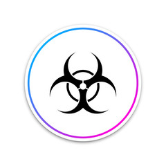 Biohazard symbol icon isolated on white background. Circle white button. Vector Illustration