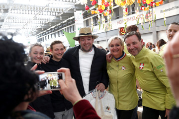 Chef of the Elysee presidential Palace Guillaume Gomez poses for a photo in a fruits and vegetables pavilion at the Rungis International Food Market, near Paris