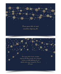 Vector illustration of light cords on a dark background. String Lights. Cheerful party and celebration. Set of greeting cards