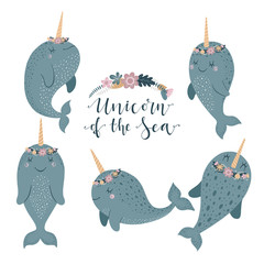 Set of cute vector illustration with narwhal baby for baby wear and invitation card.