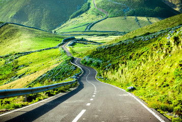 Foto auf Acrylglas Lime grun Azores landscape: Endless curvy winding road through the hills of Flores island, the Azores, Portugal.