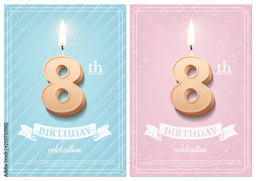 Burning Number 8 Birthday Candle With Vintage Ribbon And Celebration Text On Textured Blue