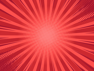 Retro comic rays red background. Vector illustration in pop art retro style