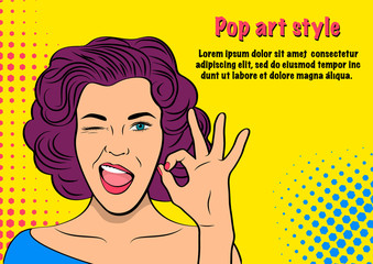 Template advertising poster in the style of pop art. Bright vector illustration of a beautiful girl. Pop art retro woman show gesture Ok and wink.