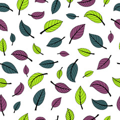 Seamless vector pattern with colored leaves on white background
