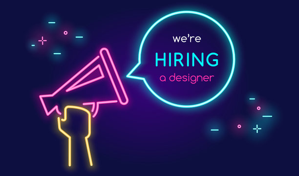 Megaphone shouting out with bubble speech we are hiring a designer