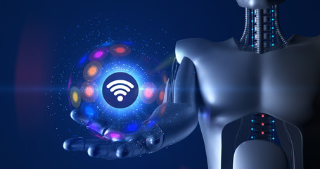 Futuristic humanoid robot holding 3d wireless symbol. Technology related 3D Render.
