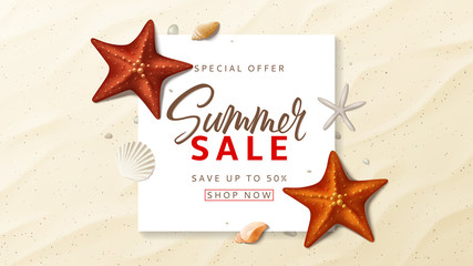 Summer sale advertisement vector banner. Summer background with top view on realistic seashells and starfishes on sea beach. Vector illustration with special discount offer.