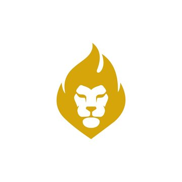Lion Fire Logo - Flame Lion Vector