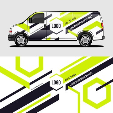 car livery lime green van wrap design wrapping sticker and decal design for corporate company branding vector