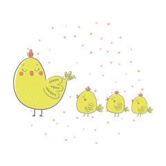 Cute cartoon chickens. Vector illustration.