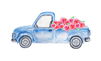 watercolor blue car with roses