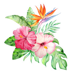 watercolor bouquet of tropical flowers