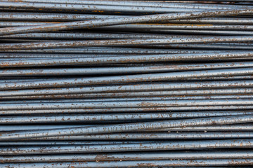 Steel rod outdoor with nature rust texture background