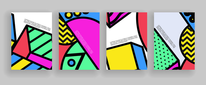Minimal covers design. Placard templates set with abstract geometric shapes, 80s memphis bright style flat design elements. Retro art for a4 covers, banners, flyers and posters.