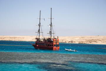 pirate ship at sea