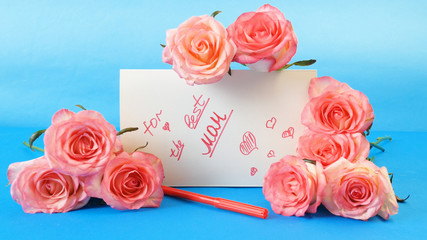 pink roses and white blank, happy mother's day concept