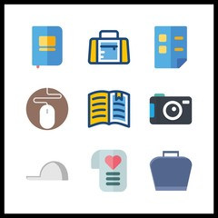 9 empty icon. Vector illustration empty set. love letter and cap icons for empty works