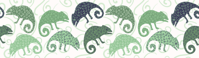 Chameleon lizard seamless border pattern. Green reptile repeatable vector illustration. Pet store, zoo camouflage graphic design . Hand drawn exotic subtropical animal silhouette background banner.