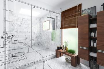 Luxury Bathroom Integration (outline) - 3d visualization