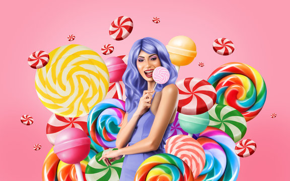 Computer drawing of young woman celebrating with candies