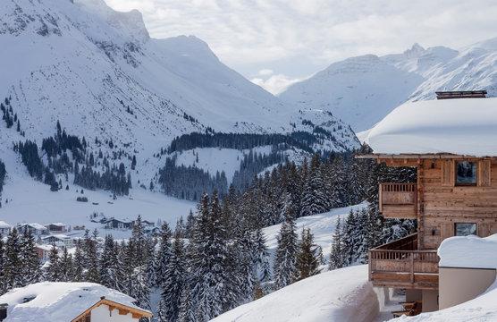 winter luxury wooden chalet Austria ski resort