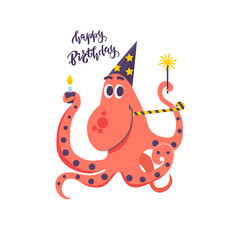 Happy birthday card for kids and cute Octopus with sparklers, holiday cap, cake and party horn. Isolated Vector illustration design for print, poster, invitation