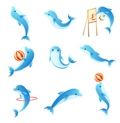 Set of cartoon small blue dolphins with different activities