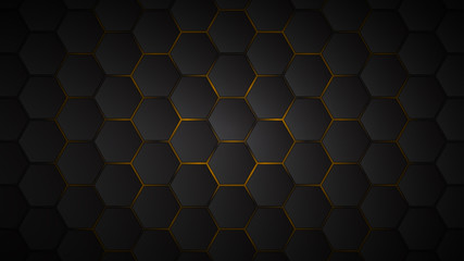 Abstract background of black hexagon tiles with yellow gaps between them Wall mural