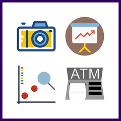 4 screen icon. Vector illustration screen set. photo camera and presentation icons for screen works