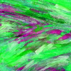Abstract acrylic hand drawn background. Colorful bright pink-purple-green brushstroke texture. Illustration for poster, card, invitation, wallpaper. Contemporary hand painted artwork. Modern art.