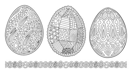 Cliparts for coloring book pages with eggs