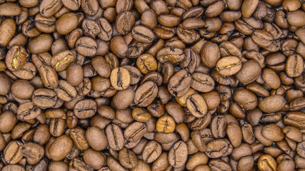 Top of view of roasted coffee beans