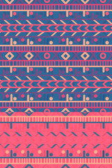 Foto auf AluDibond Boho-Stil deep blue and vivid pink colorful seamless horizontal stripes pattern tile with ethnic design for textile, fabric, wallpaper, covers, brochures, posters, backgrounds and creative surface designs